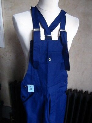 Vtg French cotton blue work trousers bibs overalls dungarees chore pants