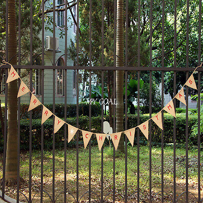 MERRY CHRISTMAS Hessian Garland Vintage Bunting Burlap Banner Party Decor Flags