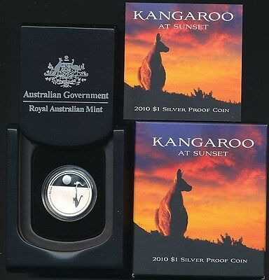 Australia: 2010 $1 Silver Proof Kangaroo at Sunset
