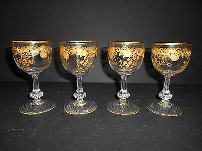 Stunning Set of 4 Massenet Gold Encrusted 4 oz. Burgundy Stems by Saint Louis
