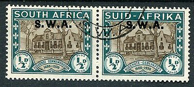 South West Africa KGVI 1939 Huguenot 1/2d brown & green SG111 used pair