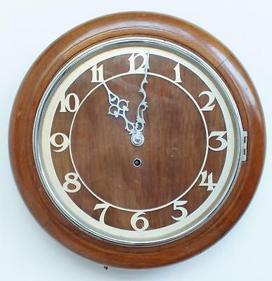 """Superb Antique English 11.5"""" Dial Solid Oak Timepiece Dial Wall Clock"""