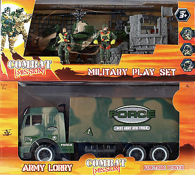 2 COMBAT MISSION Army Mega Play Set Toy - Force Truck Soldiers Helicopter Ruin