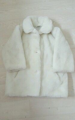 Girls white fur coat age 5-6 years