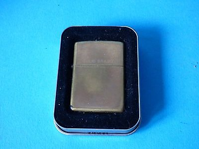 Stunning Used Vintage Brass Metal Design Zippo Lighter Stamped With Tin