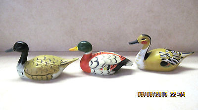 3 Vintage Hand Painted Hard Plastic Mallard Duck; Made In Hong Kong