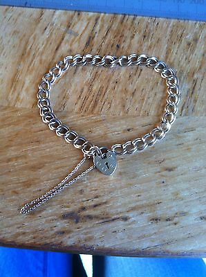 Solid 9 ct Gold Bracelet With Heart Padlock Clasp