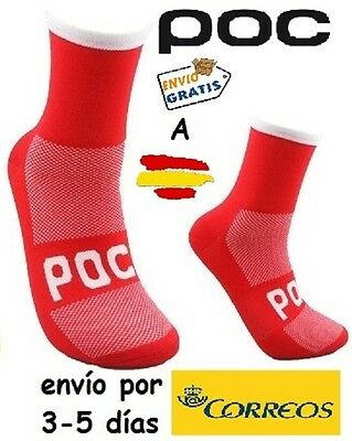 Calcetines Ciclismo Poc Socks, Color Rojo-Blanco