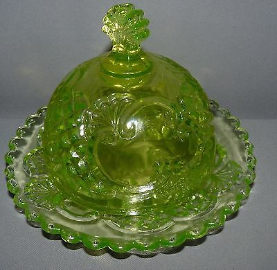 Vaseline Glass Round Butter Dish with Lid Pressed Glass Pattern