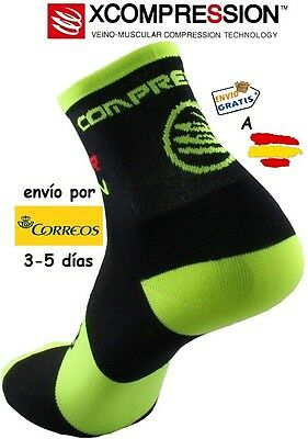 Calcetines Ciclismo Xcompression Socks, Negro-Amarillo Fluor