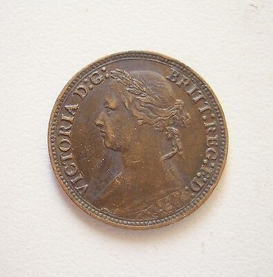 UK, Queen Victoria Young Head Farthing 1878,  GVF condition, 20 mm Diameter