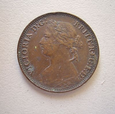 UK, Queen Victoria Young Head Farthing 1874H,  GVF condition, 20 mm Diameter