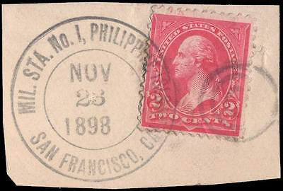 Philippines #214 Used on piece, Military Station #1 cancel