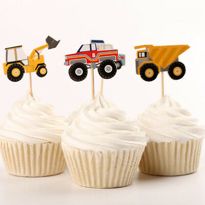 24pcs Birthday Party Baking Supplies Car Models Cake Decor Inserted Card