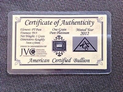 1x Pure 99.9% Platinum 1 Grain (Not Gram) Bullion Investment Bar, COA (ACB Mint)