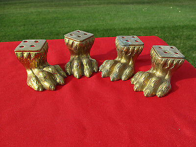 4 AWESOME Vintage Cast Solid Brass Furniture Feet Lions Paws Claw  LOOK (972)