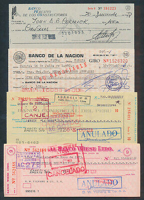 Peru: 1973-1980 COLLECTION of 4 different Cheques, one with Printed DUTY STAMP