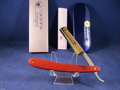 Dovo 5/8 Red Wood Germany Straight Razor 24kt.Gold Etch Mint In Tin -1065831