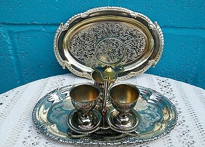 Set Of 3 Vintage Silver Plated Egg Cups On Stand plus 2 Trays