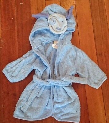Carters Baby Boys Towel Bath Robe Blue Puppy Dog Hood 0-9 Months Up to 21 pounds