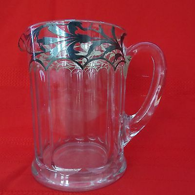 REDUCED-Vintage Heavy Glass Pitcher with Silver Trim