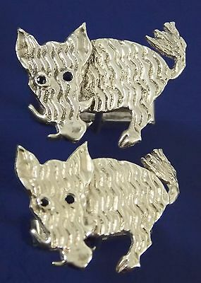 Vintage Mia Fonssagrives-Solow Sterling Silver Warthog Cufflinks Sapphire Eyes