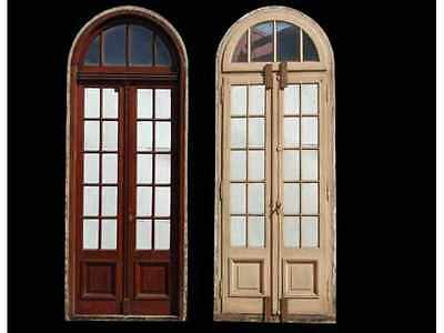 Antique Double French Door with Arched Transom #A1726
