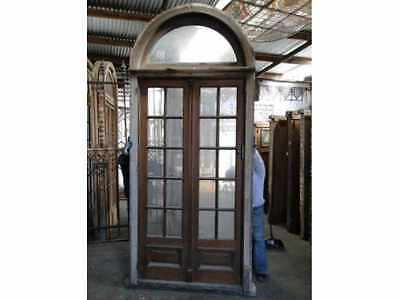 Antique Double Patio Door with Arched Transom #B1547b