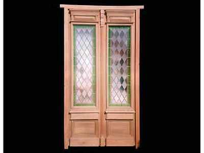 Antique Double Leaded And Stained Glass Door #4387