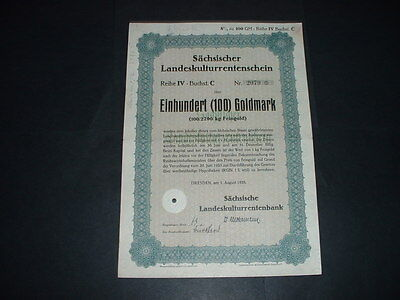 ORIGINAL 1/8/28 GERMANY/DRESDEN100 GOLDMARKS 3rd REICH WAR BOND WITH STATE SEAL