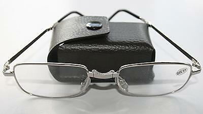 Z005 Silver Framed Folding 2016 Reading Glasses With Case+Cloth +2.00+2.25+2.50
