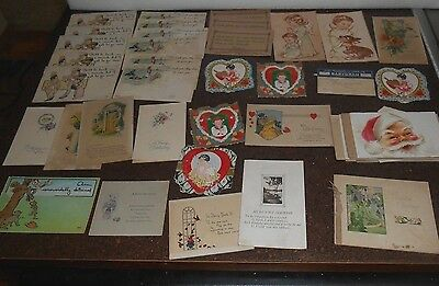 50+ antique early 20th century greeting cards-Valentines, birthday, humorous etc