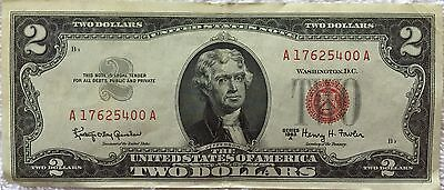 Series 1963 A Jefferson Red Seal $2 Two Dollar Bill