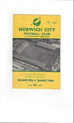 Norwich City v Ipswich Town FA Cup Football Programme 1961/62