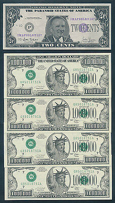 USA: 1996 2 Cents Ross Perot Satirical Note & 2001 $1 Million Fun Money (4) UNC