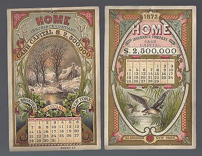 Vintage Advertising 1872 Full Calendar From The HOME INSURANCE COMPANY New York