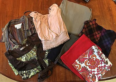 Collection of Maternity Clothes: Shirts, Pants, Skirt, Belly Bands L