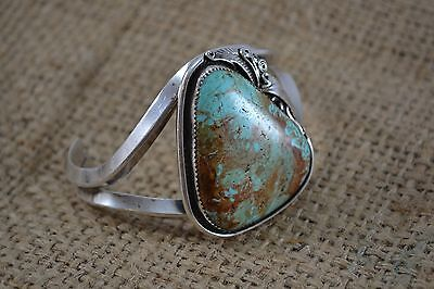 VINTAGE NAVAJO silver TURQUOISE cuff bangle signed JUSTIN MORRIS large