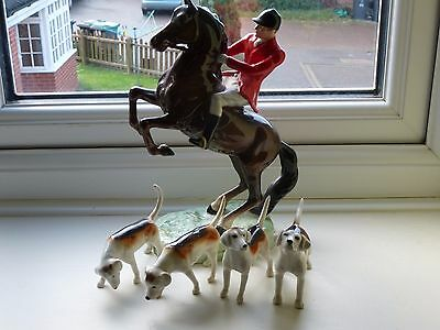 Beswick  Huntsmans  Horse And 4 Hounds All Perfect Great Christmas Present