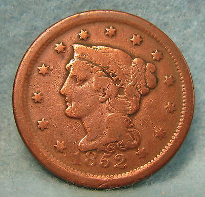1852 Braided Hair Large Cent * Circulated US Coin #243