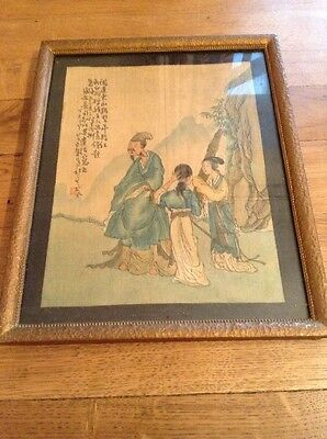 Vintage/ Antique Chinese Silk Painting In Glazed Gilt Frame 280 X 235 Mm -lovely