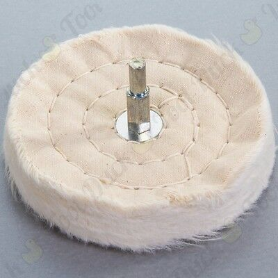 "4"" POLISHING CLOTH WHEEL 100mm Metal Plastic Glass Rotary Drill BUFFER MOP PAD"