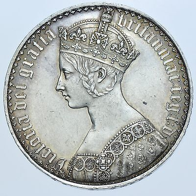 1847 Gothic Crown, Undecimo, British Silver Coin From Victoria Ef