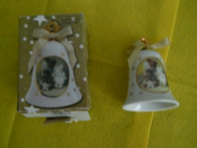 BOYD Collection ~ Bears & Friends~Gold Trimmed Ceramic Bell ~ Christmas Ornament