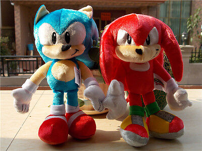 New Tomy Sonic Boom Sonic Knuckles 25Th Anniversary Plush Doll Toy Set of 2