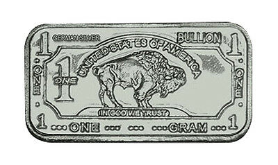 1 Gram Pure Solid .999 German Silver Buffalo Science Educational Bullion Bar