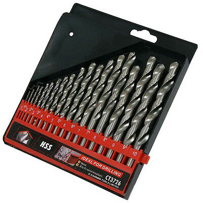 CT3726 19PC HSS Drill Bit Set Great For Metal Wood Or Plastic 1-10mm Brand New