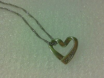 Italy Hallmarked 375 9ct White Gold Necklace With Heart Shape Pendant