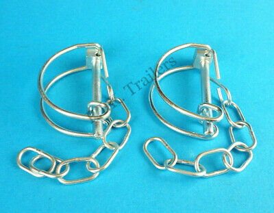 2 x Pipe Clip & Chain for Ifor Williams Trailer - Shaft Lynch Pin
