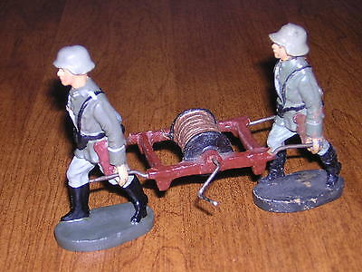 Elastolin Lineol Rare German Soldiers Carrying Radio Field Wire Equipment